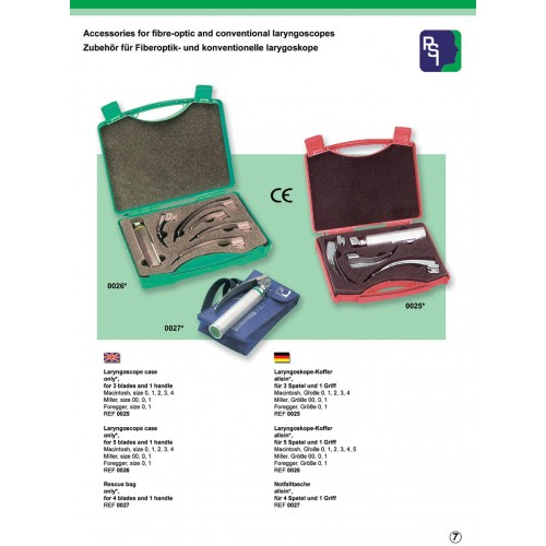 Accessories for fiber-optic and conventional laryngoscopes.