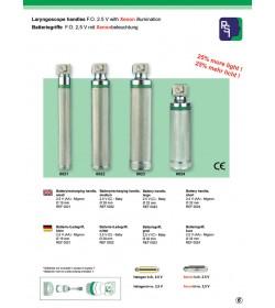 Laryngoscope handles F.O.2.5 V with Xenon illumination.